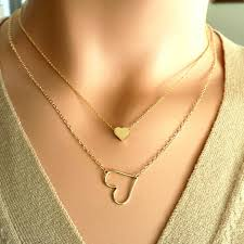 small chain necklace images Multilayer chain small heart necklace for women chokers pendants jpg