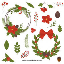 set of elements of decoration vector free