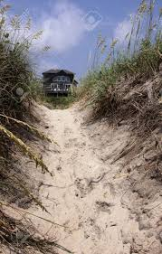 a beach house framed by the sand dunes in the outer banks north