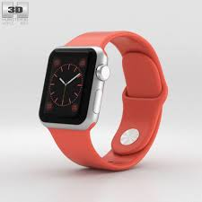 silver band apple sport 38mm silver aluminum pink sport band 3d