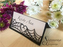 Halloween Card Invitation Spider Web Place Cards Laser Cut Name Cards Halloween Gothic Table