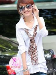 scarf blouse sale pleated slim turn collar with scarf blouse