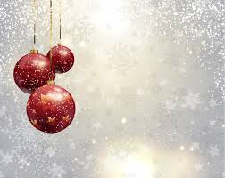 silver christmas background with red baubles vector free download