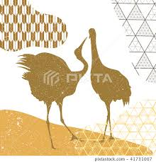 Crane element templateJapanese pattern vector Go  Stock