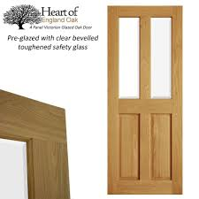 Pre Stained Interior Doors by Internal Oak Door Four 4 Panel Victorian Glazed Unfinished
