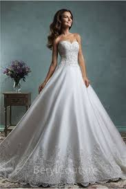 ball gown satin lace applique wedding dress off the shoulder long