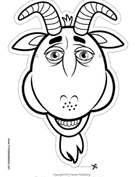goat mask coloring page printable goat mask to color mask