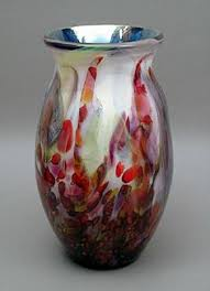 Blown Glass Art Vases Studio Art Glass Vase Hand Blown Frosted Glass Signed Murano