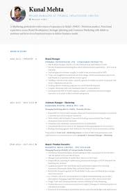 Product Development Manager Resume Sample by Brand Manager Resume Samples Visualcv Resume Samples Database