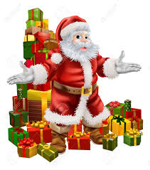 an illustration of santa claus with a big stack of christmas