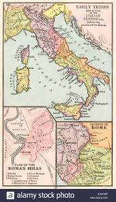 Map Rome Italy by Map Of Early Tribes In Italy And Of The Roman Hills And The