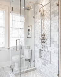 Subway Tile Designs For Bathrooms by Love The This Shower And The Gray And White Tile Chevron Marble