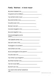 31 free esl family relations worksheets