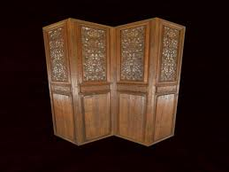 second life marketplace carved wooden 4 panel screen room divider