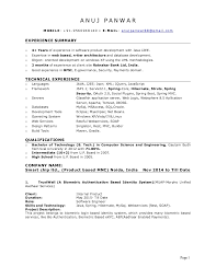 Sample Resume For Software Engineer With Experience In Java by 1 Year Experience Resume In Java J2ee Contegri Com