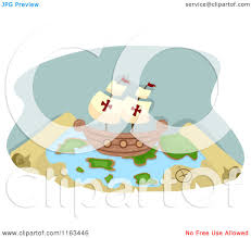 Treasure Map Clipart Cartoon Of A Pirate Ship On A Treasure Map Royalty Free Vector