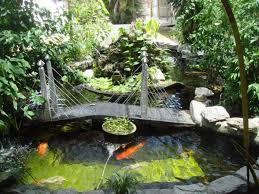 garden koi pond with bridge tips to caring the koi ponds
