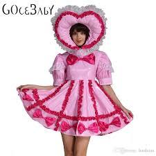 Custom Halloween Costume Custom Sweet Heart Baby Sissy Lockable Maid Pvc Pink