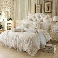 Ruffled Comforter Ice Cream Girls Lace Ruffle Tulle Bowtie Jacquard Bedding Girls