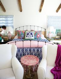 Eclectic Bedroom Decor Ideas Splashy Blue And White Bedding Eclectic Bedroom