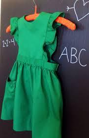 vintage girls pinafore dress pine green sewing pinterest