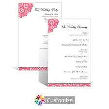 flat wedding programs custom color wedding reception programs