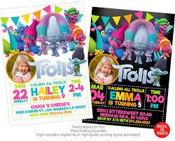 trolls birthday invitation trolls invitation troll
