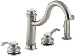 nickel kohler fairfax kitchen faucet wide spread single handle