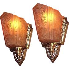 Vintage Wall Sconce Lighting Pr 1930s Art Deco Wall Sconce Lighting Fixtures Original Vintage