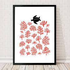 sea turtle reef large screen print in coral red by lu west