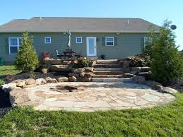 Flagstone Firepit Backyard Patio With Pit Schroeder S Nursery
