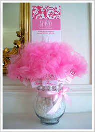 Vase Centerpieces For Baby Shower Gumball Sticks With Tags Tulle U0026 Glass Vase Candy Centerpieces