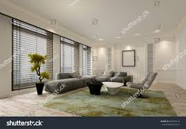 Floor To Ceiling Window Fancy Apartment Living Room Interior Large Stock Illustration
