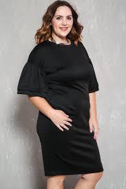 black ruffled sleeve knee length plus size formal party dress