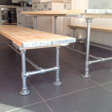 Dining Table And Two Wide Benches For Sale In Metal By Woodgriffin - Kitchen diner tables