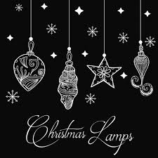 hand drawn christmas lamps background vector free download