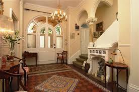 minimalist modern design of the home entrance decor that has grey