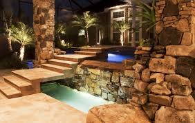 backyard designs with pool and outdoor kitchen swimming pool and spa with outdoor kitchen bar and waterfalls