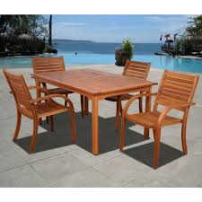amazonia arizona eucalyptus wood 5 piece rectangular patio dining