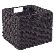 set of 3 folding cube rattan storage baskets household storage