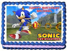 sonic the hedgehog cake topper sonic the hedgehog birthday cake party edible cake topper image
