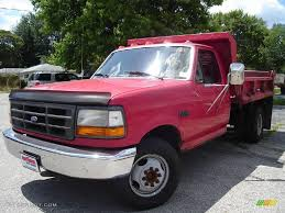 Ford F350 Truck - 1995 ultra red ford f350 xl regular cab chassis dump truck