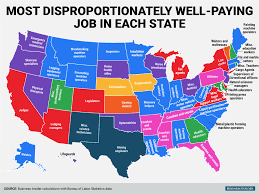 Red And Blue State Map by The Most Disproportionately Well Paying Job In Each State Mental