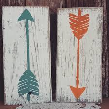 wooden arrow decor nursery decor home decor mint rustic orange