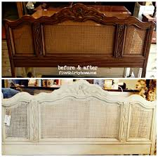 before and after caned headboard