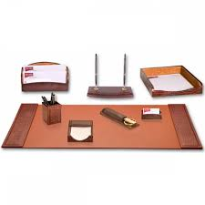 Modern Desk Accessories Set by Ray U0027s Brown Crocodile Embossed Leather Desk Set Showtime Store