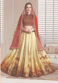 yellow color combination beautiful fancy lehenga in red and yellow color combination with