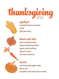 thanksgiving list of traditionalving dinner menulist menu