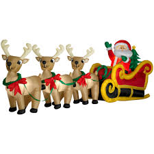 Christmas Decorations Santa Sleigh And Reindeer by Gemmy Christmas Airblown Inflatable Santa In Sleigh With Three