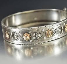 sterling silver rose gold bracelet images Antique french silver heart rose gold bracelet boylerpf jpg